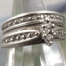 VINTAGE sz 5 AFFORDABLE WEDDING BAND & ENGAGEMENT RING 20 DIAMONDS IN STERLING