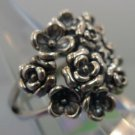 RING sz 8 sterling 925 silver BASKET or BOUQUET OF FLOWERS