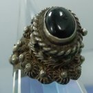 RING sz ADJ DEEP ONYX STERLING SILVER POISON or PILL RING signed NJD TAXCO