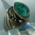 sz 10 RING SILVER hand signed 'CD' SOUTHWESTERN or TRIBAL TURQUOISE