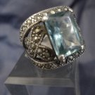 RING sz 8 MARCASITE and BLUE EMERALD SHAPE STONE in GREAT WIDE STERLING SETTING