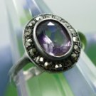 RING sz 7 sterling 925 silver SPARKLING MARCASITE and SPARKLING AMETHYST