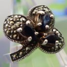 RING sz 9.25 sterling 925 silver MARCASITE and a VERY DARK BLUE stone TOPAZ