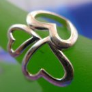 RING sz 9 sterling 925 silver SHAMROCK HEART signed WS