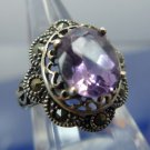 RING sz 7 marcasite & amethyst set in sterling 925 silver signed T (in a diamond