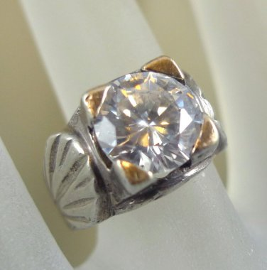 unisex RING sz  7.5 : silver DECO hand crafted w/ LARGE 10mm C Z