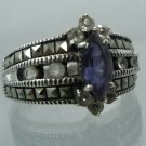 RING sz 9 sterling 925 silver JJ JUDITH JACK MARCASITE and AMETHYST and SPINELS