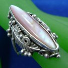 sz 8 RING: sterling 925 silver signed T G Mother of Pearl Tribal Feathers