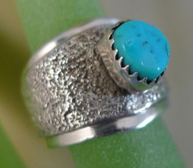 sz 7  RING: sterling 925 silver Navajo L. BENNETT Turquoise Wide Band