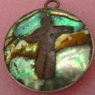 vintage PENDANT silver TAXCO MEXICO signed MYSTERIOUS DARK FIGURE IN THE ABALONE