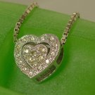 """2 PIECE PENDANT: sterling 925 silver CZ PAVE HEART & FRAME : 17"""" CHAIN INCL"""