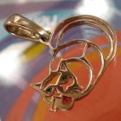 PENDANT: sterling 925 silver ITALY CAT PENDANT w/ RED LIPS signed A3-AR