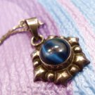 PENDANT sterling 925 silver BLUE CAT'S EYE on 23 INCH CHAIN - TAXCO TD-125