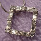 STERLING 925 SILVER RECTANGLE CZ PICTURE FRAME PENDANT w/ CHAIN