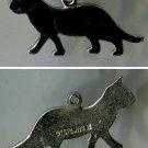 vintage ENAMEL ON STERLING SILVER CHARM : BLACK CAT KITTY WALKING / SIGNED