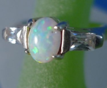 sz 8 RING: sterling 925 silver vintage vtg Pink-ish Opal each side