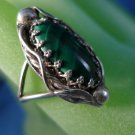 """sz 6.5 RING: sterling 925 silver Tribal Indian Malachite Signed by Hand """"R"""""""