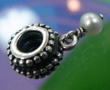 AUTHENTIC PANDORA DANGLING PEARL BEAD CHARM by ALE - STERLING 925