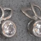 STERLING SILVER C Z BUNNY EARS POST EARRINGS signed KL