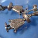 TAXCO VINTAGE STERLING screw EARRINGS: Mexican Hangs From Bare Foot