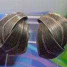 vintage RETRO clip earrings LOOKS LIKE HAIR BUT IT IS SILVER signed METALL