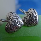 shepards hook EARRINGS: silver Etched  Heart DESIGNER QUALITY