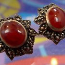 vintage sterling POST EARRINGS burnt orange CABOCHON and MARCASITE : PERFECT