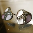 stud EARRINGS: sterling 925 silver HEART Lavender MOP Mother of Pearl Marcasite