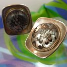 vintage CLIP EARRINGS BLACK PAINTED on MOONSTONE sterling TAXCO NUMBERED T0-89