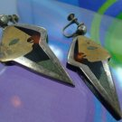 """screwback SCREW BACK art deco AWESOME PACE earrings sterling SIGNED """"RM"""" MEXICO"""