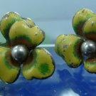 vintage ENAMEL screw back YELLOW FLOWER EARRINGS sterling 925 silver DANECRAFT