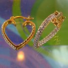 hoop EARRINGS: sterling 925 silver GOLD WASHED HEARTS diamond chips R china