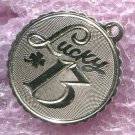 vintage Birthday Charm :  Lucky 13 - Sterling 925 Silver