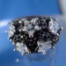 sz 8 RING: sterling 925 silver vintage vtg w/ Marcasite & Star Cut CZ