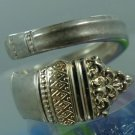 vintage 1970 SPOON RING : TOWLE STERLING w/ GOLD ACCENTS : DANISH BAROQUE