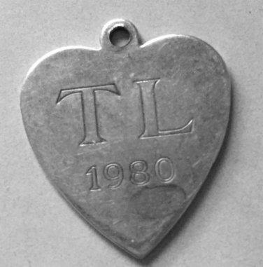 vintage 1980 STERLING TIFFANY HEART CHARM w/ T L (AVON) TEAM LEADERSHIP