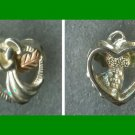 ANGEL w/ HALO on a HEART PENDANT : 925 STERLING & 12K FOOLS GOLD