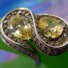 RING sz 8.5 STERLING 925 LOTS OF CZz AND CITRINE - ETERNITY SHAPE