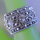 sz 6 RING : Vintage Marcasite with 3 Spinel  and a 6mm Shank