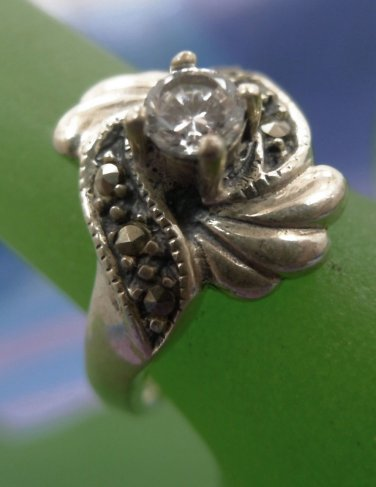 sz 7 Ring : vintage Sterling Silver Art Deco Rhinestone & Cubic Z signed Shube's