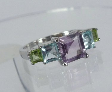 sz 6 RING Sterling Silver 5 Pastel Princess Cut Gemstones Amethyst Peridot Topaz