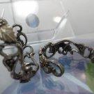 Vintage Sterling 925 Silver Fools Gold Ornate Signed Hoop Earrings by WM Co