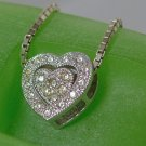 "Vintage 2 Piece Pendant Sterling 925 Silver CZ Pave Heart in Frame on 17"" Chain"