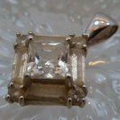 vintage RETRO or DECO STERLING SILVER DQ (QUALITY) CZ SQUARE PENDANT