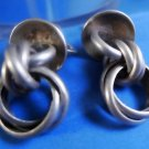 Vintage Modernist Screw Back Earring : Sterling Silver - Many Chains - CLEAN ME