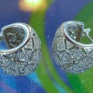 Sterling Silver And Cubic Zirconia Pave Hoop Earrings - Gift Quality