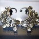 Clip Earrings Vintage w/ Dangling Rhinestones by Karu Arke Pat. Applied For