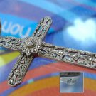 Vintage Cross Pendant: Filigree & Marcasite 1.5'' Germany Circled Hallmark