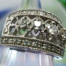 sz 7 Ring : Sterling Silver Wide Then Tapering Wedding Band  5 Cubic Zirconia CZ