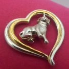 I Love Beagles Sterling Heart Pendant Gold Accents Dangling Beagle Charm  by BGE